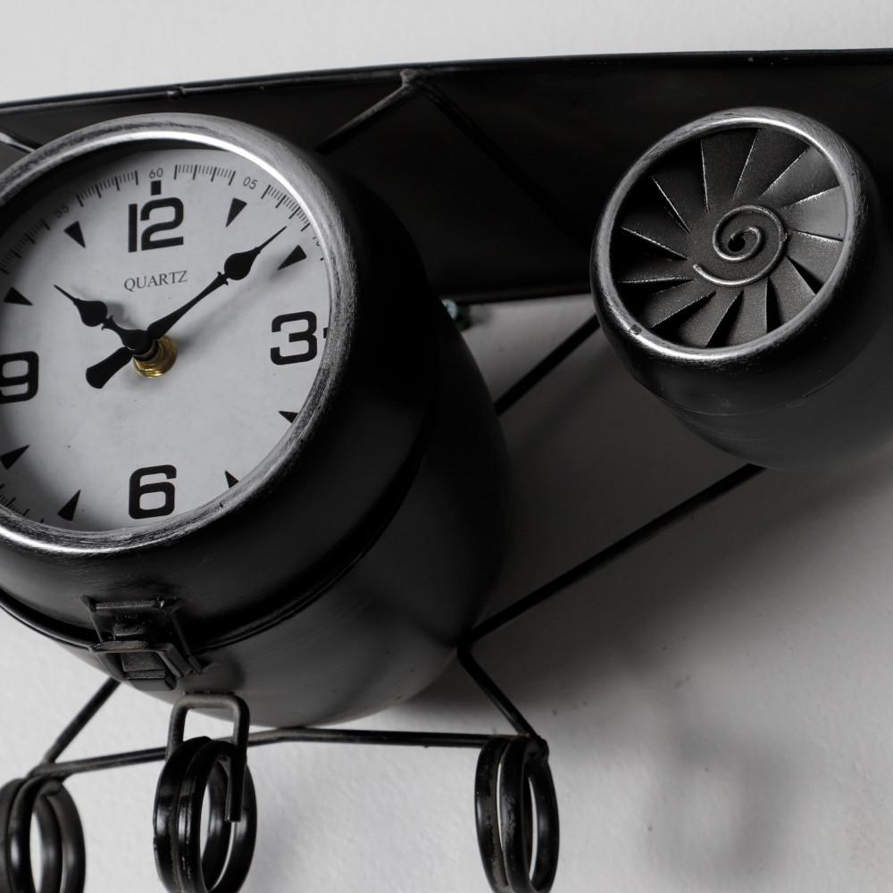 ساعة حائط أنتيكة موديل بلان سفن شكل طائرة صناعة معدنية أرقام واضحة