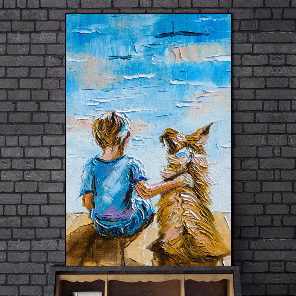 لوحة فن تجريدي لطفل وكلب تحت سماء زرقاء