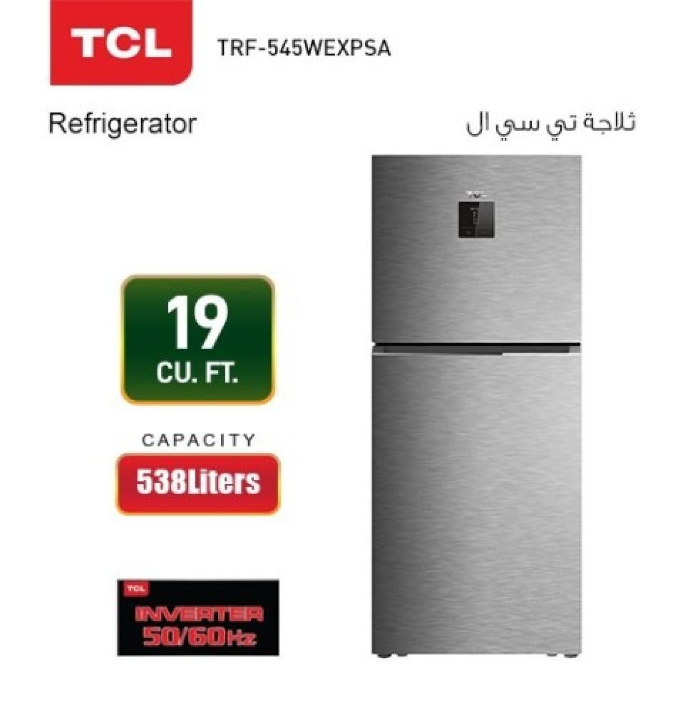 ثلاجة تي سي ال 19 قدم فضي TCL TRF-545WEXPSA