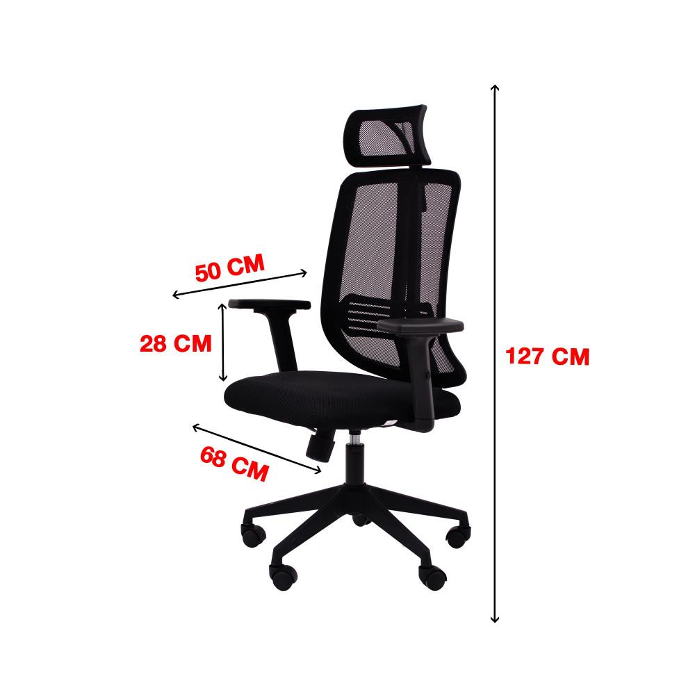 كرسي كاما شبك متحرك اسود ظهر طويل zh-9043