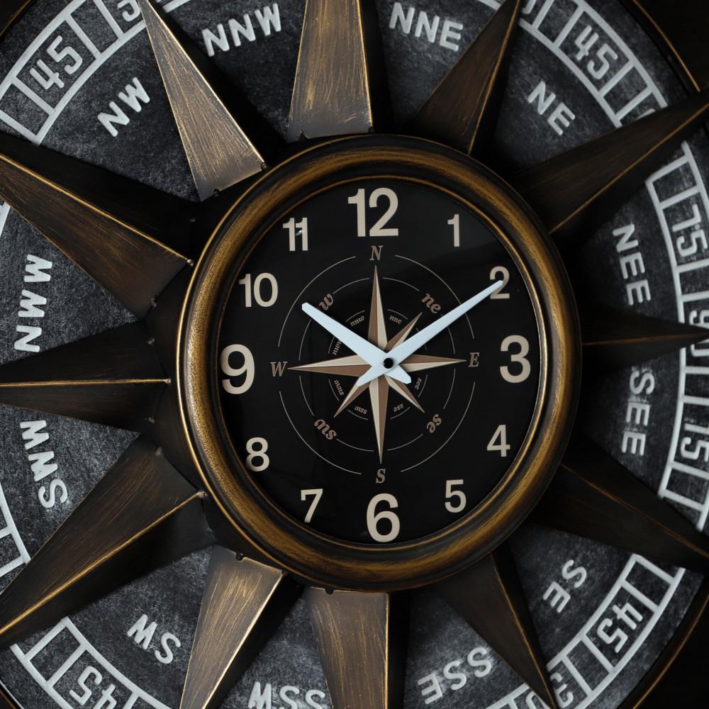 صورة ساعة حائط أنتيكة موديل كومباس شكل البوصلة بأرقام صناعة معدنية