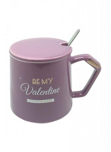 كوب سيراميك للقهوة و الشاي مع ملعقة  و غطاء بنفسجي 13 × 10 × 10 سنتيمتر