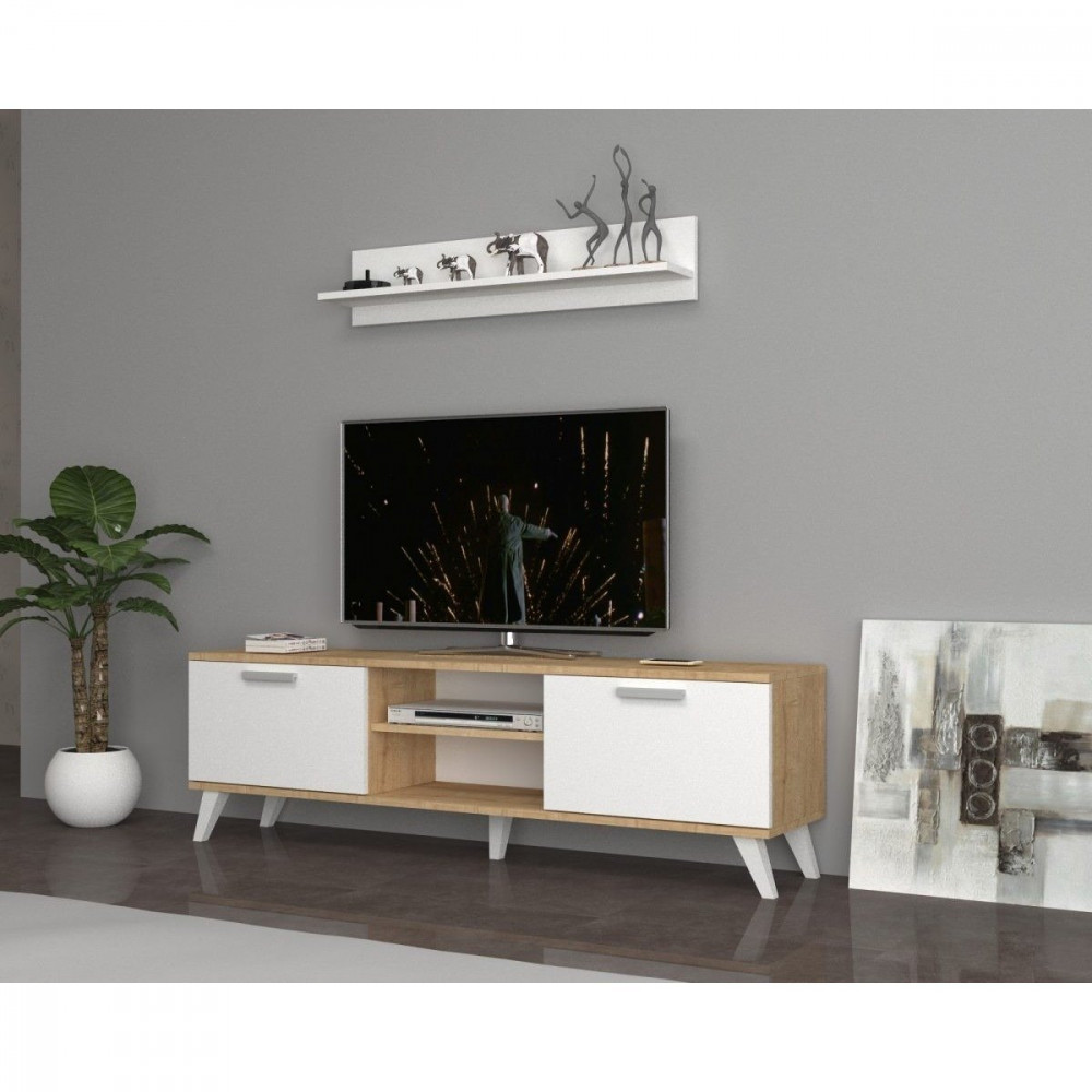 تجارة بلا حدود طاولة تلفاز جذابة برف علوي إضافة إلى وحدات تخزين