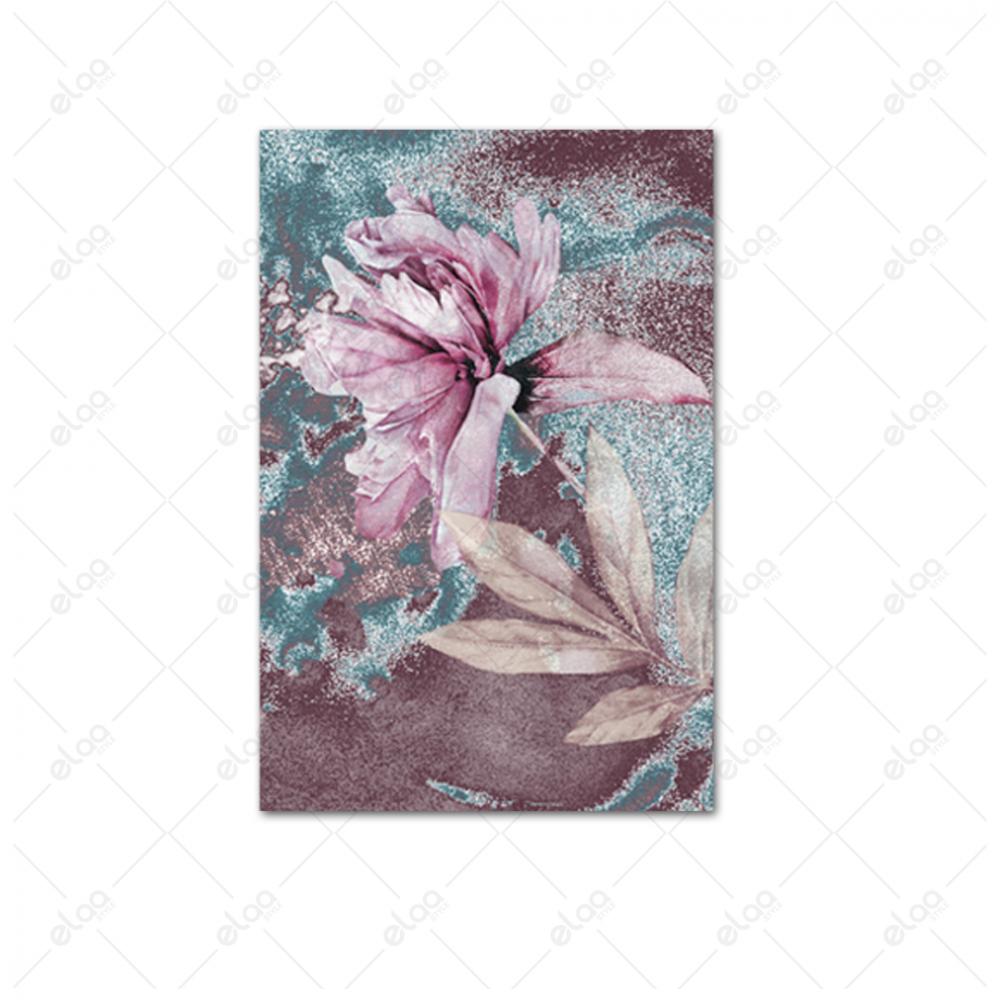 لوحة جدارية فن تجريدي لزهور باللون الوردي والتيفاني