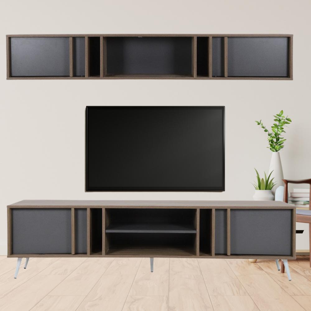 طاولة تلفاز موديل برين صناعة خشبية بأبواب ووحدات تخزين بتصميم أنيق