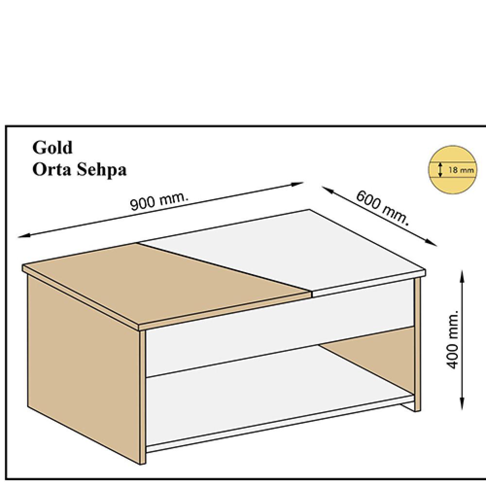 مقاسات طاولة قهوة خشبية موديل براون لون أبيض متداخل مع الخشبي