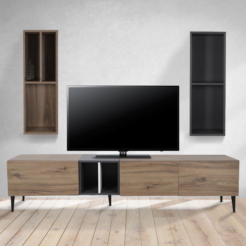 طاولة تلفاز موديل ديانا صناعة خشبية بأرفف ووحدات تخزين بتصميم عصري