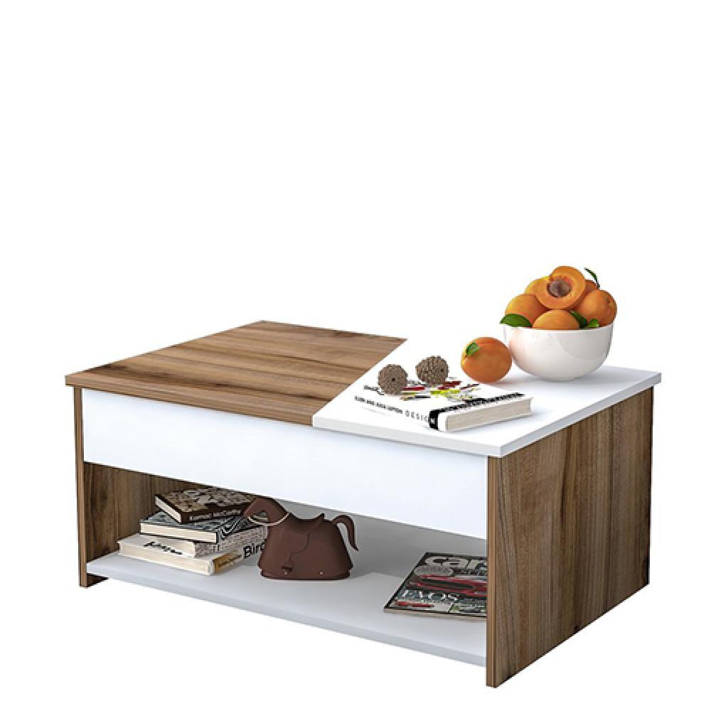 متجر اثاث مواسم لديه طاولة قهوة خشبية موديل براون لون أبيض متداخل