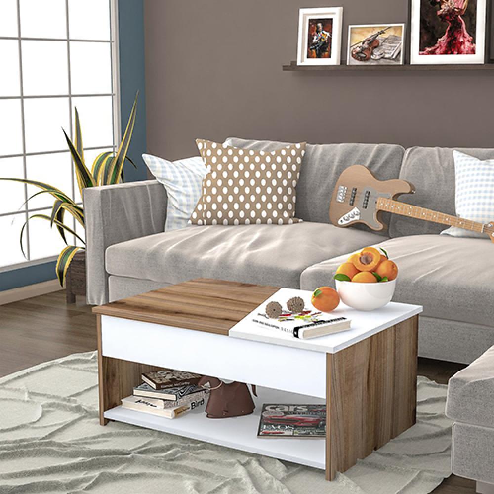 طاولة قهوة خشبية موديل براون لون أبيض متداخل مع الخشبي
