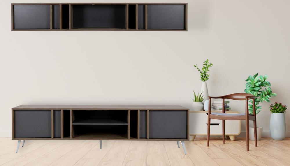 طاولة تلفاز موديل برين صناعة خشبية بأبواب ووحدات تخزين مع الديكور