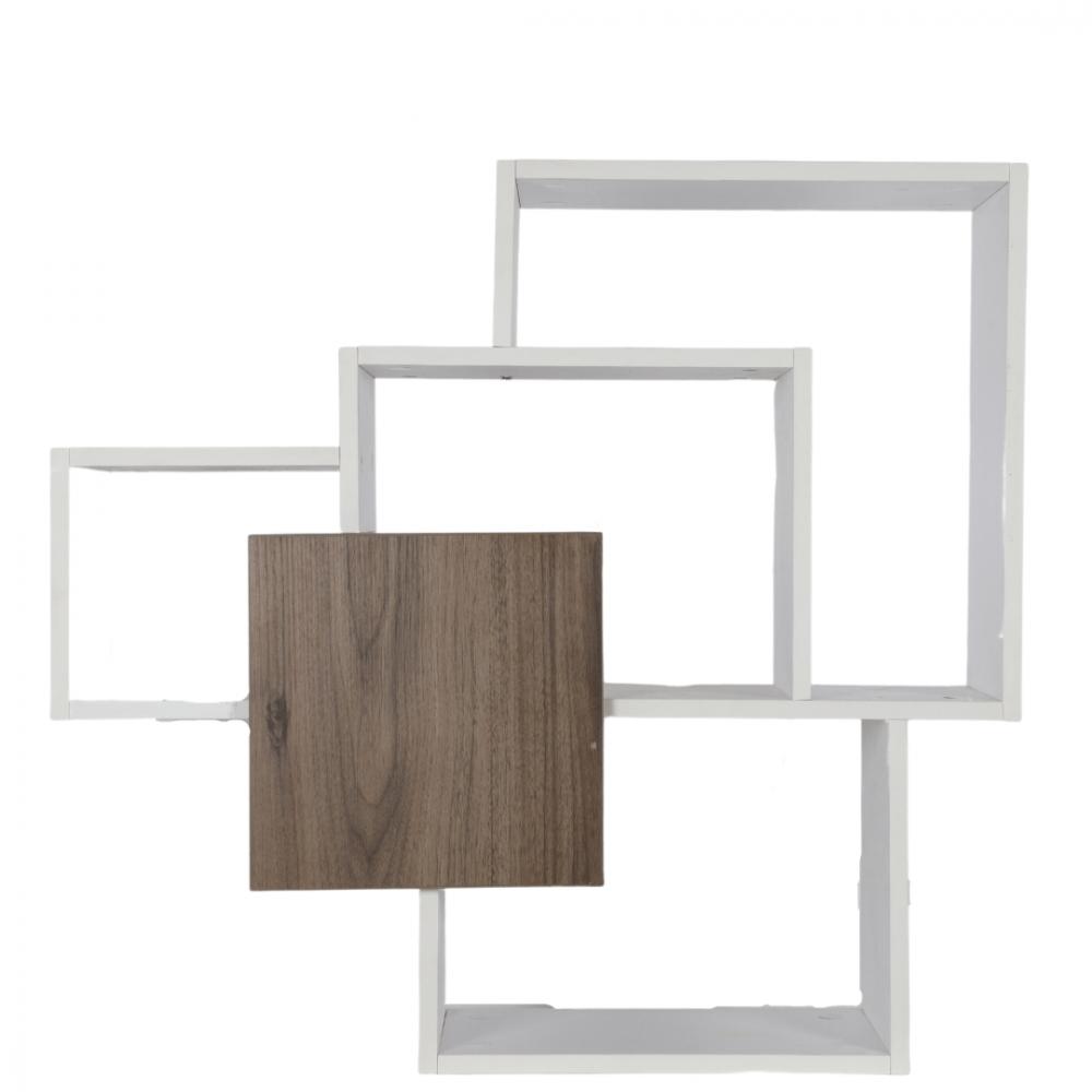 رفوف حائط خشبية موديل سويت باللون الخشبي متداخل مع الأبيض