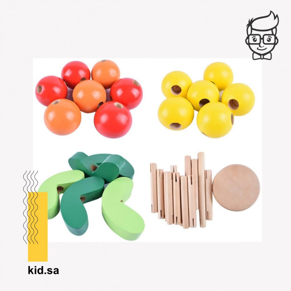 محتويات اللعبة الخشبية للتركيب و صناعة اشكال الزهور