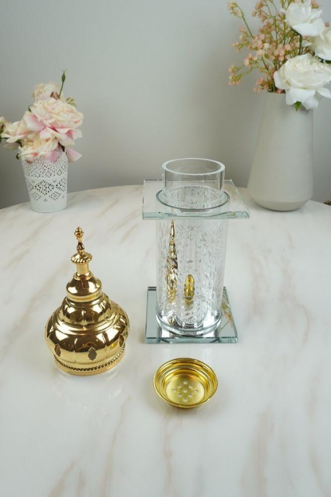 مبخرة زجاج فضي مع حديد مذهب بخور ومباخر ديكورات المنزل مناسبات دخون