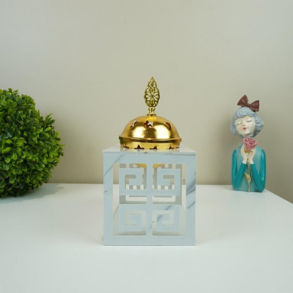 مبخرة ذهبية بقاعدة شكل رخامي مباخر ومداخن بخور ديكورات المنزل مناسبات