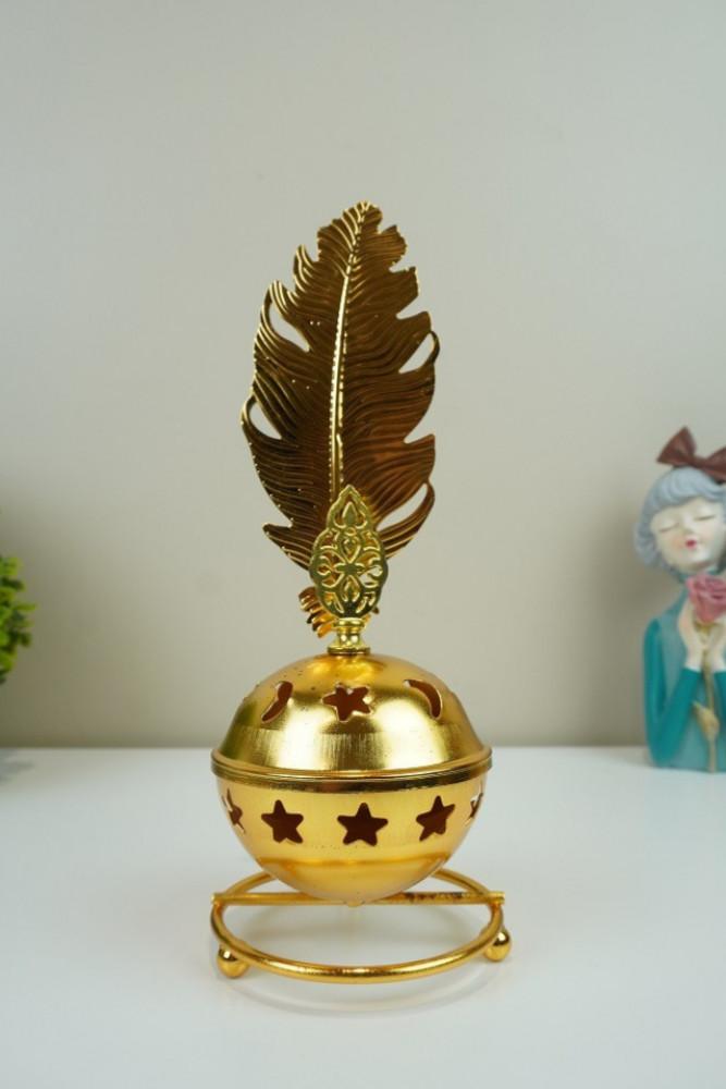 مبخرة معدن ذهبي بغطاء  ريشة مباخر ومداخن بخور ديكورات المنزل مناسبات