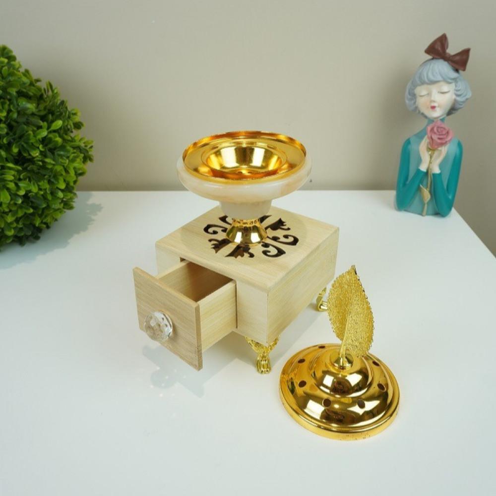 مبخرة قاعدة خشب وحديد ذهبي مع زجاج رخامي مباخر ومداخن بخور ديكورات