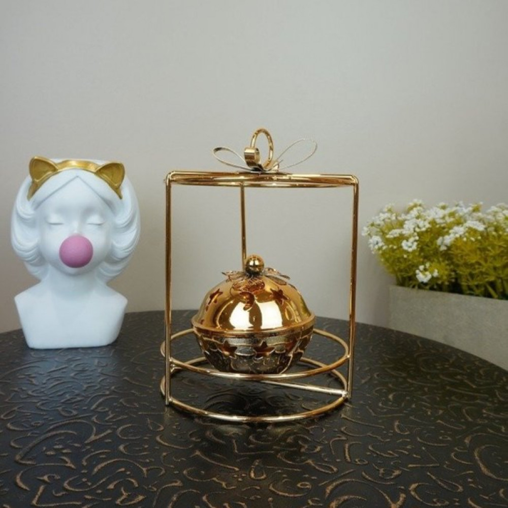 مبخرة معدن ذهبي مع حامل دائري بخور ومباخر ديكورات المنزل مناسبات دخون