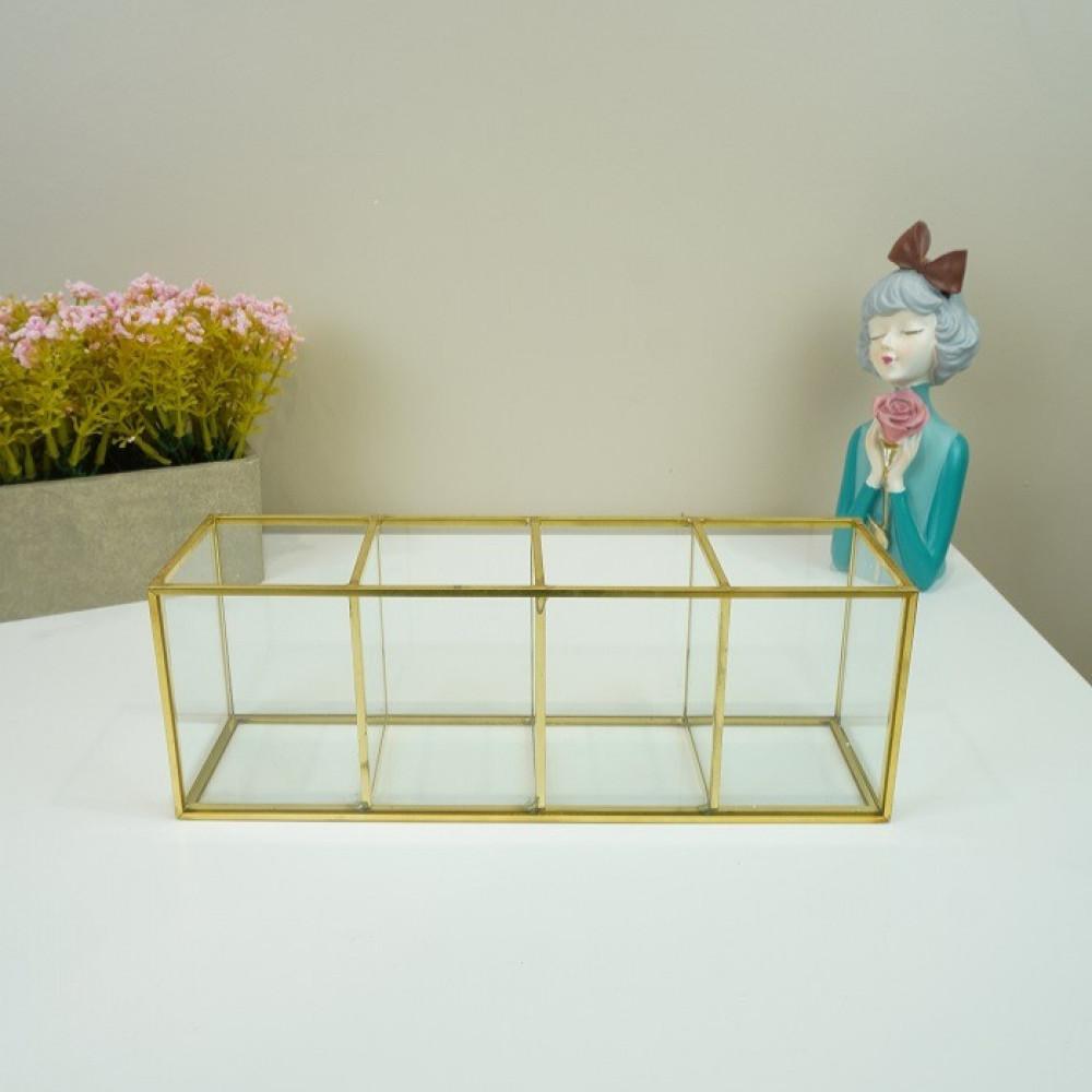 منظم مكياج زجاج ديكورات المنزل تنظيم وترتيب اكسسوارات منظم زجاج وذهبي