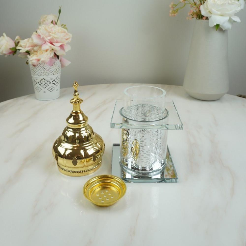 طقم مبخرة زجاجي فضي مع حديد مذهب بخور ومباخر ديكورات المنزل مناسبات