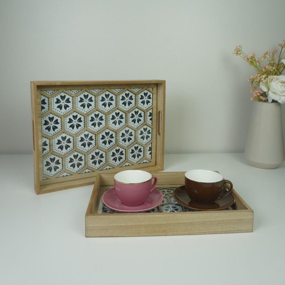 طقم صينية خشب ضيافه وتقديم رمضان ديكورات المنزل مطبخ مناسبات قهوة