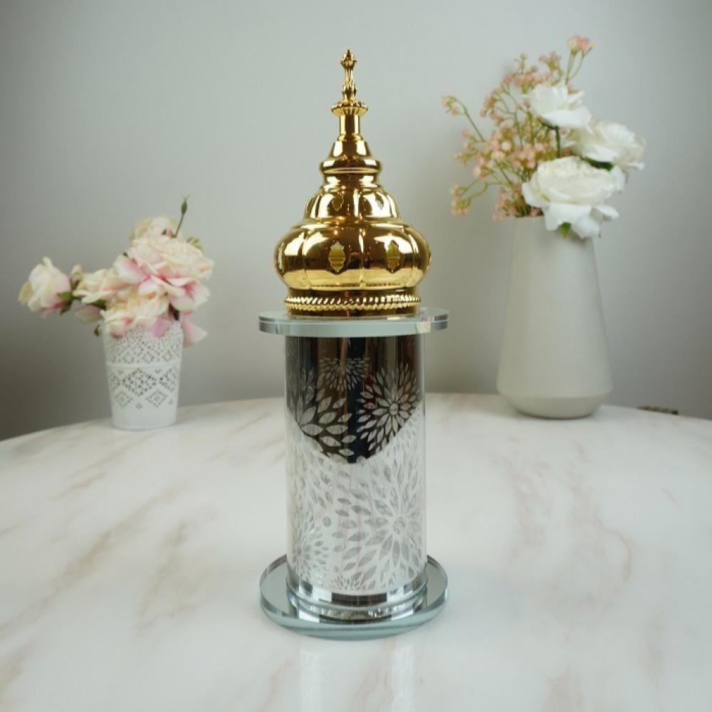 مبخرة زجاجي فضي مع حديد مذهب بخور ومباخر ديكورات المنزل مناسبات