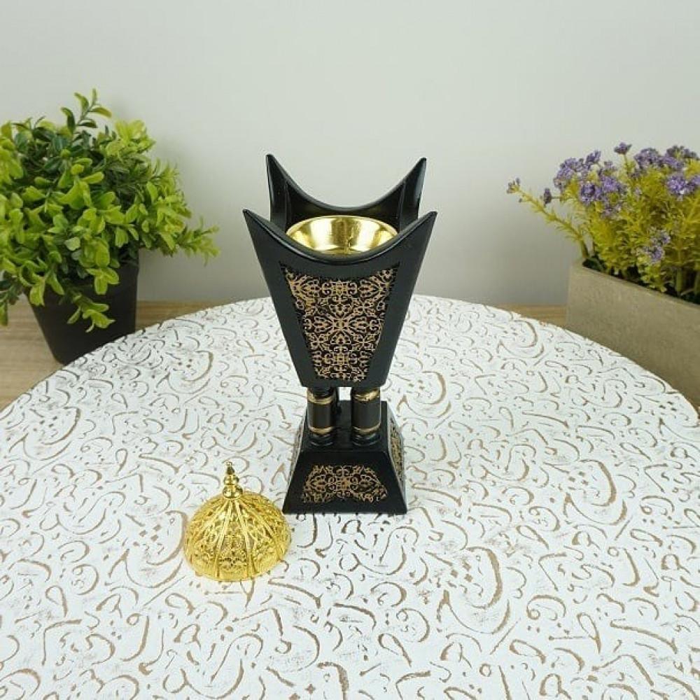 مبخرة رخام صناعي ملون بحديد مزخرف بالذهبي مباخر ومداخن بخور مناسبات