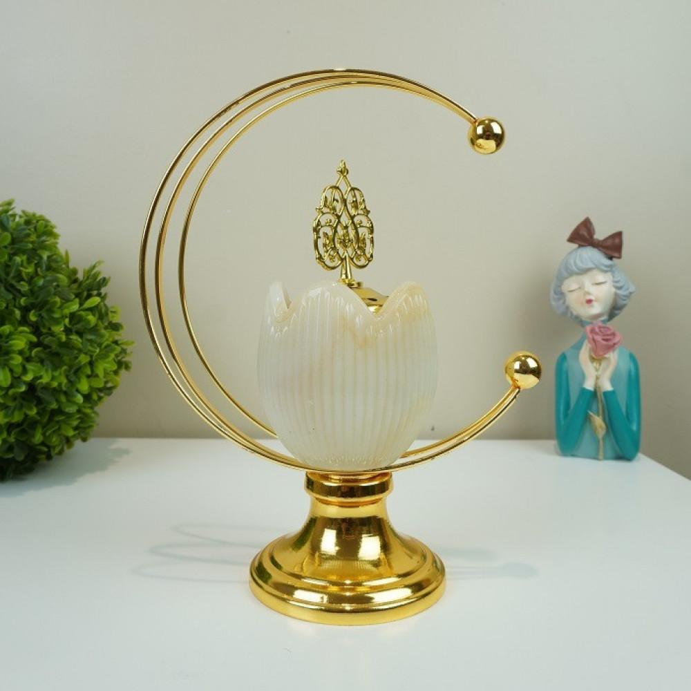 مبخرة حديد ذهبي مع زجاج رخامي مباخر ومداخن بخور ديكورات المنزل رمضان