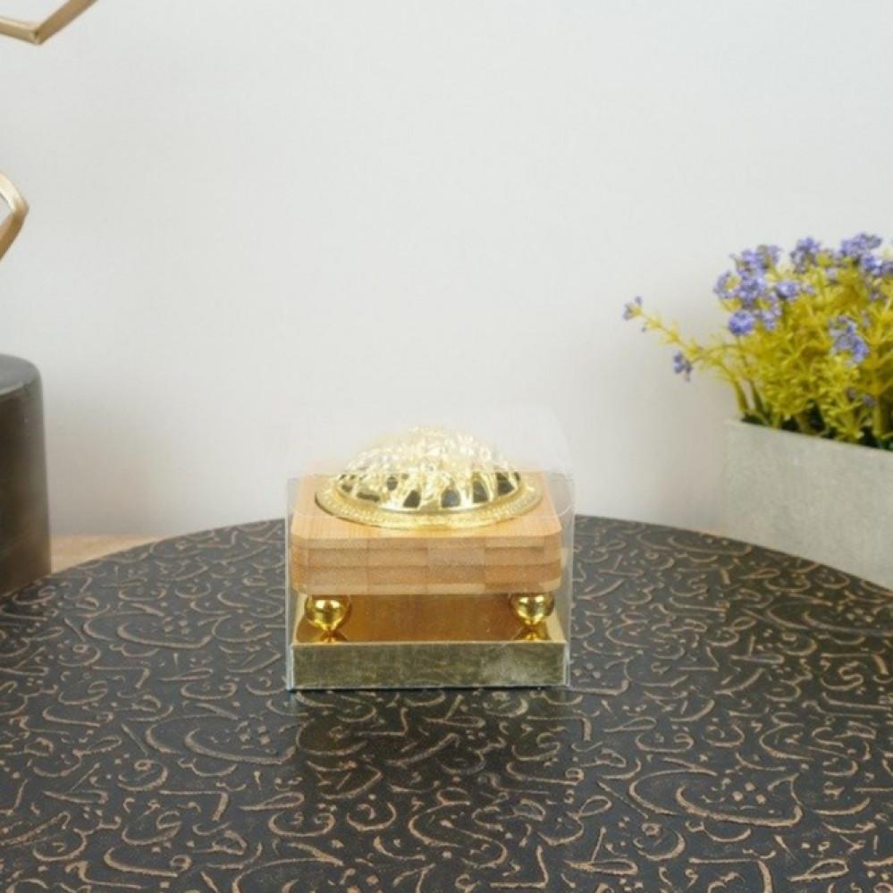 مبخرة خشب مع غطاء حديد ذهبي مباخر ومداخن بخور ديكورات المنزل مناسبات