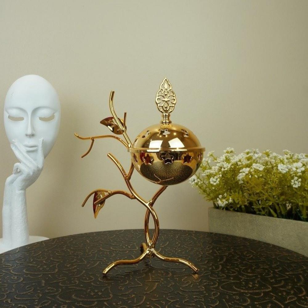 مبخرة معدن ذهبي على غصن شجرة مباخر ومداخن بخور ديكورات المنزل رمضان