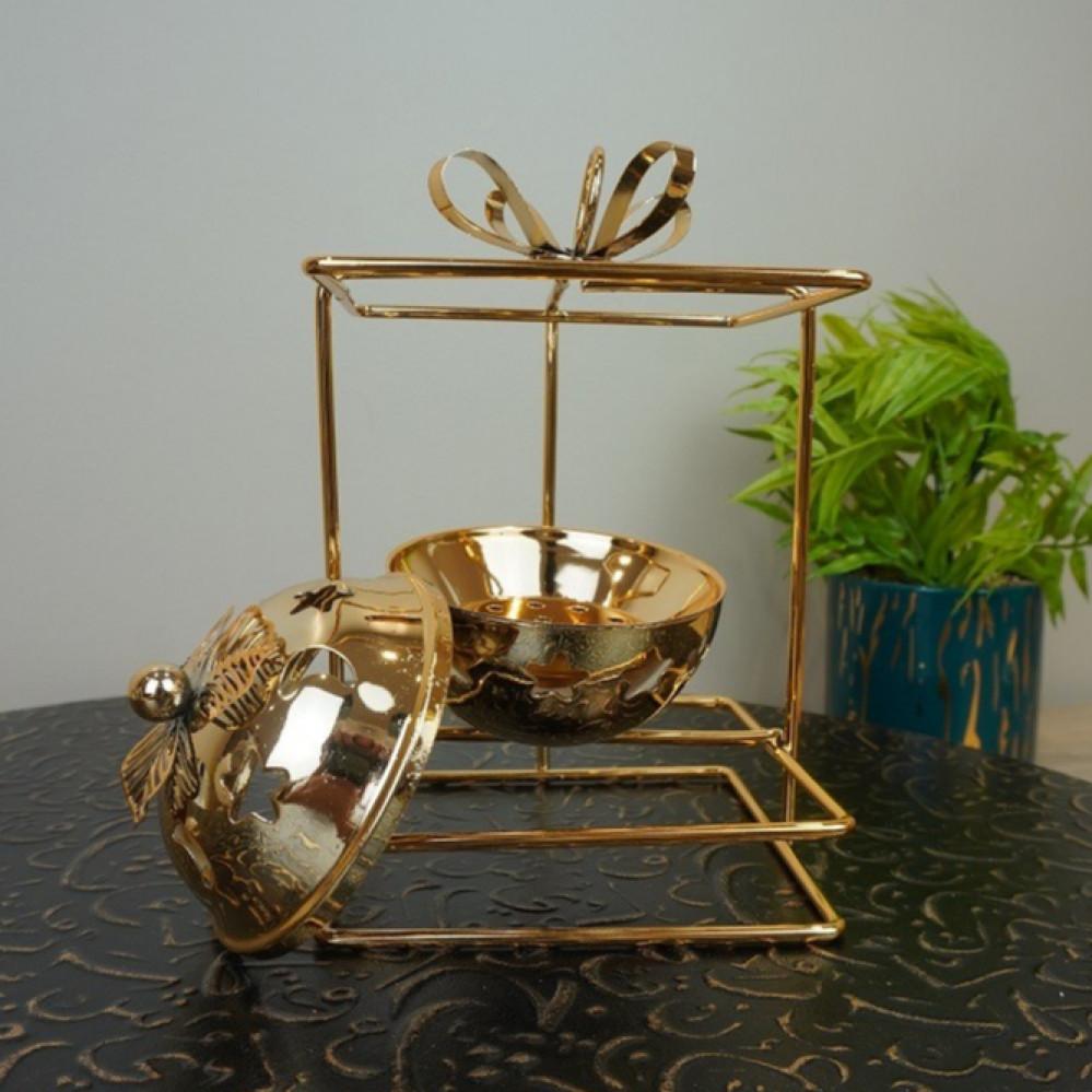 مبخرة معدن ذهبي مع حامل مباخر ومداخن بخور ديكورات المنزل مناسبات