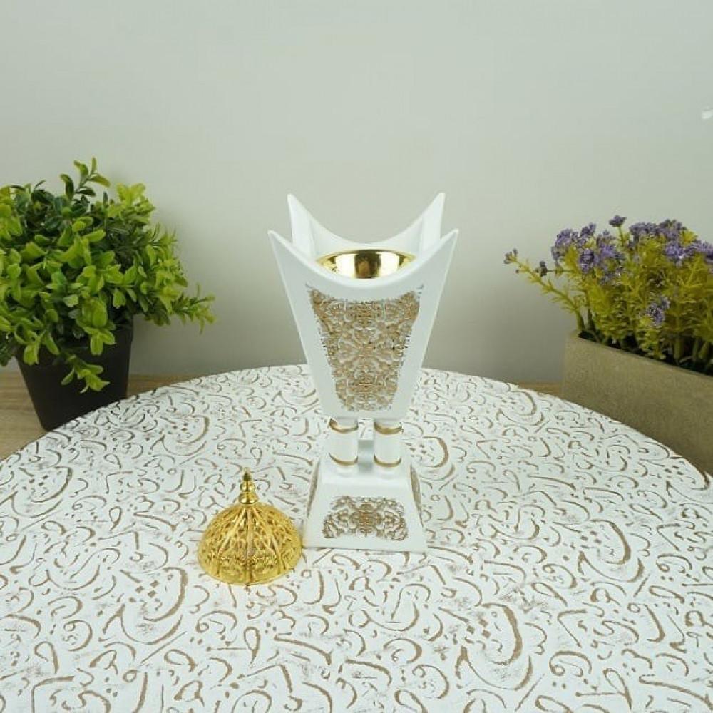 مبخرة رخام صناعي مزخرف بالذهبي مباخر ومداخن بخور ديكورات المنزل رمضان