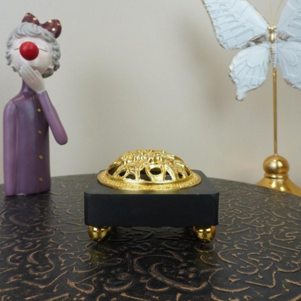 مبخرة خشب مع غطاء حديد ذهبي مباخر ومداخن بخور ديكورات المنزل رمضان