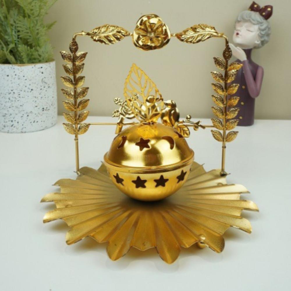 مبخرة ذهبية بقاعدة وردة ويد عصافير مباخر ومداخن بخور ديكورات المنزل