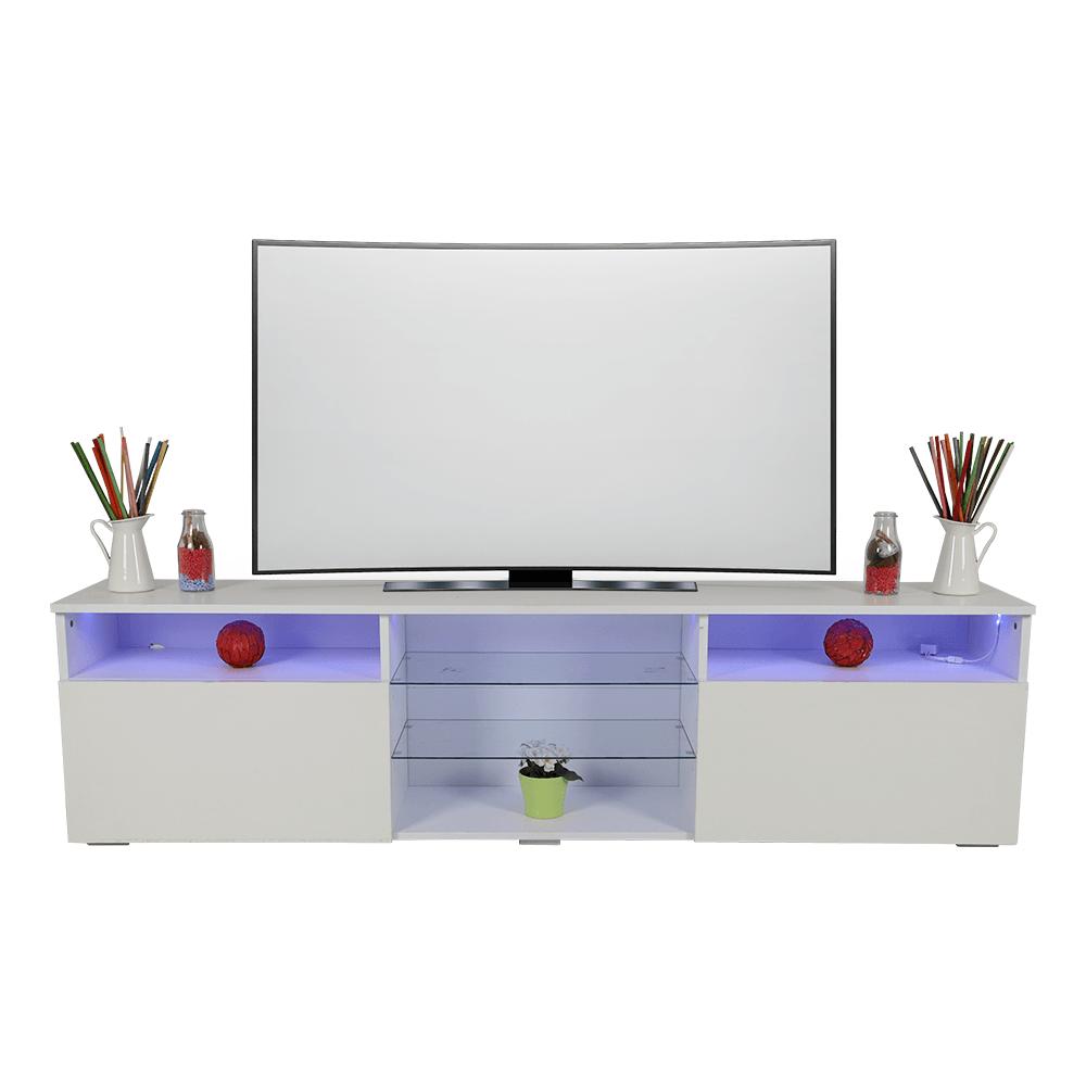 طاولة تلفاز برفوف زجاجية NEAT HOME بيضاء ليد من متجر تجارة بلا حدود