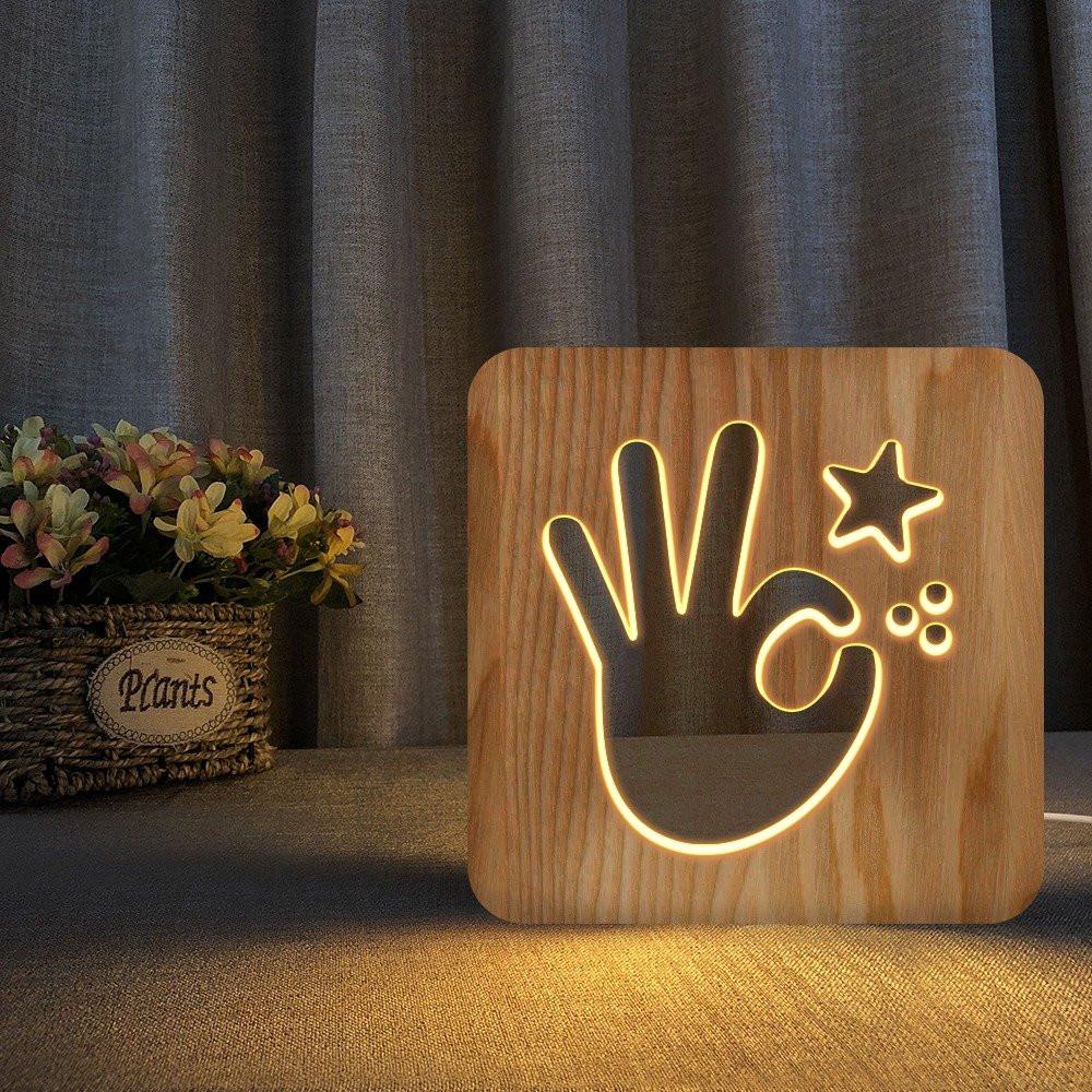 مواسم تحفة خشبية مضيئة على شكل أوكي بتصميم خشبي مميز جدا بإضاءة ليد