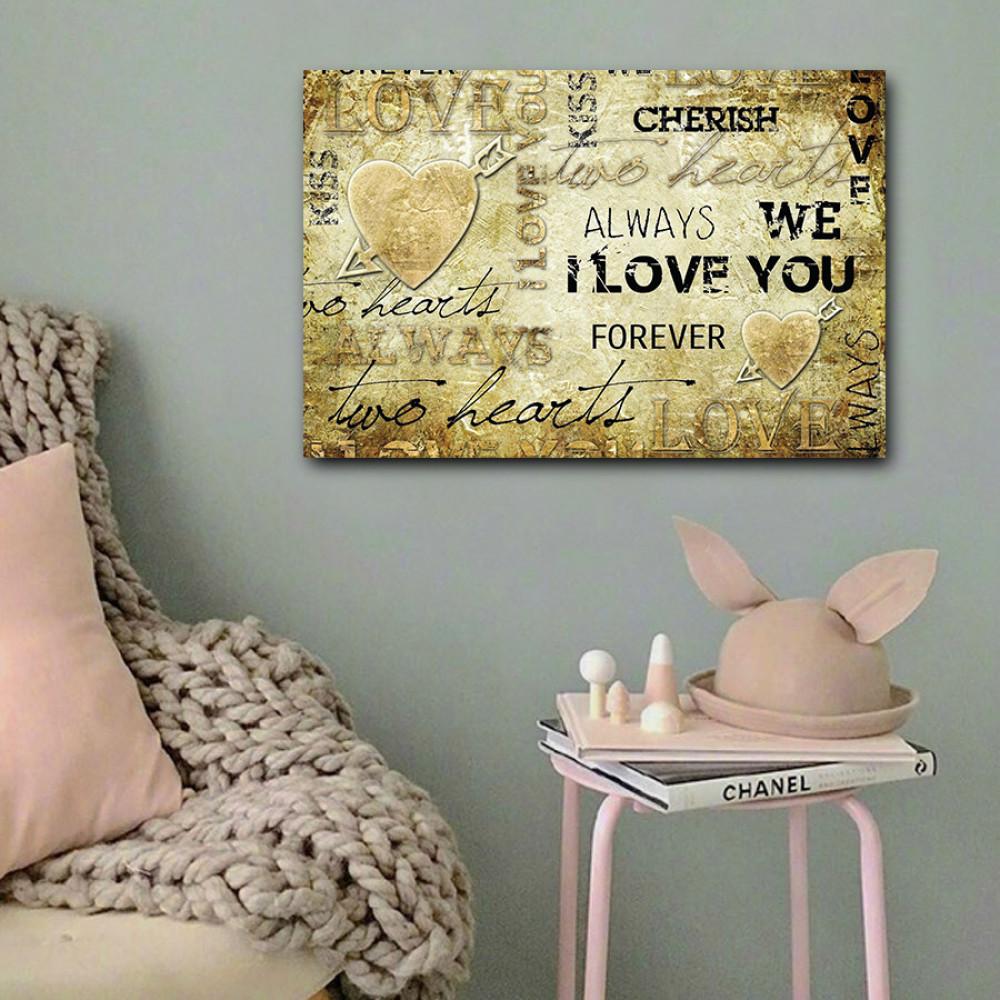 لوحة حب آي لوف يو خشب ام دي اف مقاس 40x60 سنتيمتر
