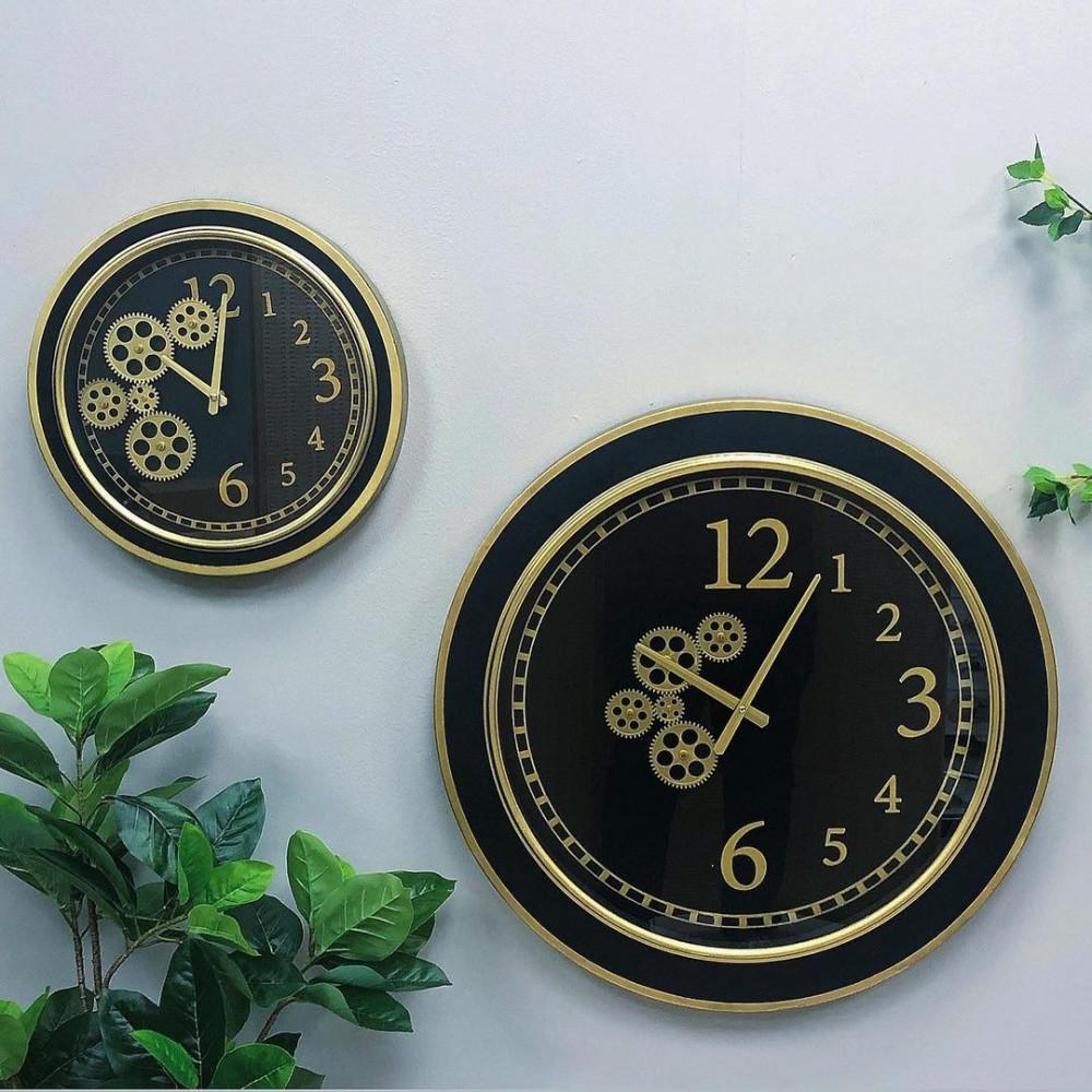 ساعة حائط اطار حديد ذهبي ساعات ديكورات المنزل جدار ساعات حائط