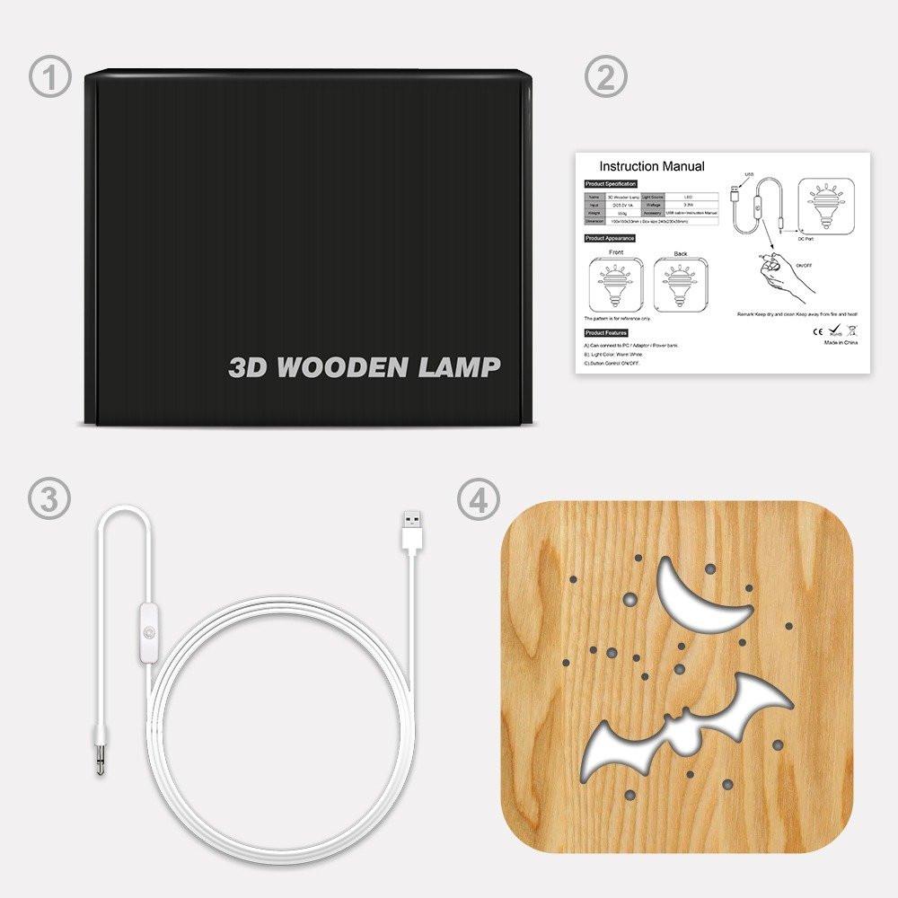 مواسم تحفة شكل الخفاش مضيئة خشبية كيفية توصيل الإضاءة وتركيب التحفة