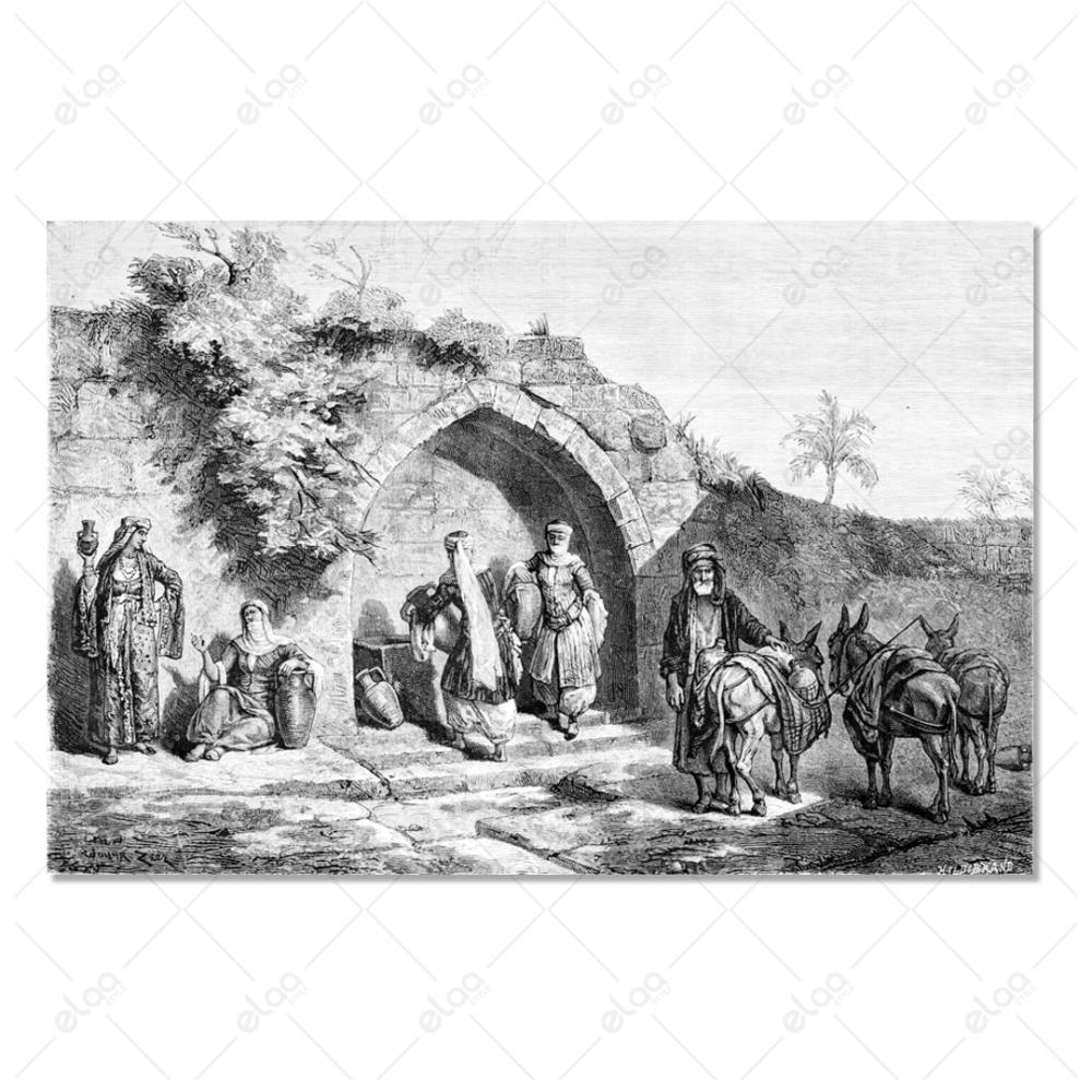 لوحة فنية لباب المدينة العربية القديمة