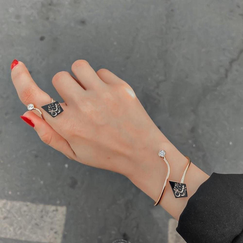 اسوارة مع خاتم الدايزك الاسم حسب الطلب - متجر راقية