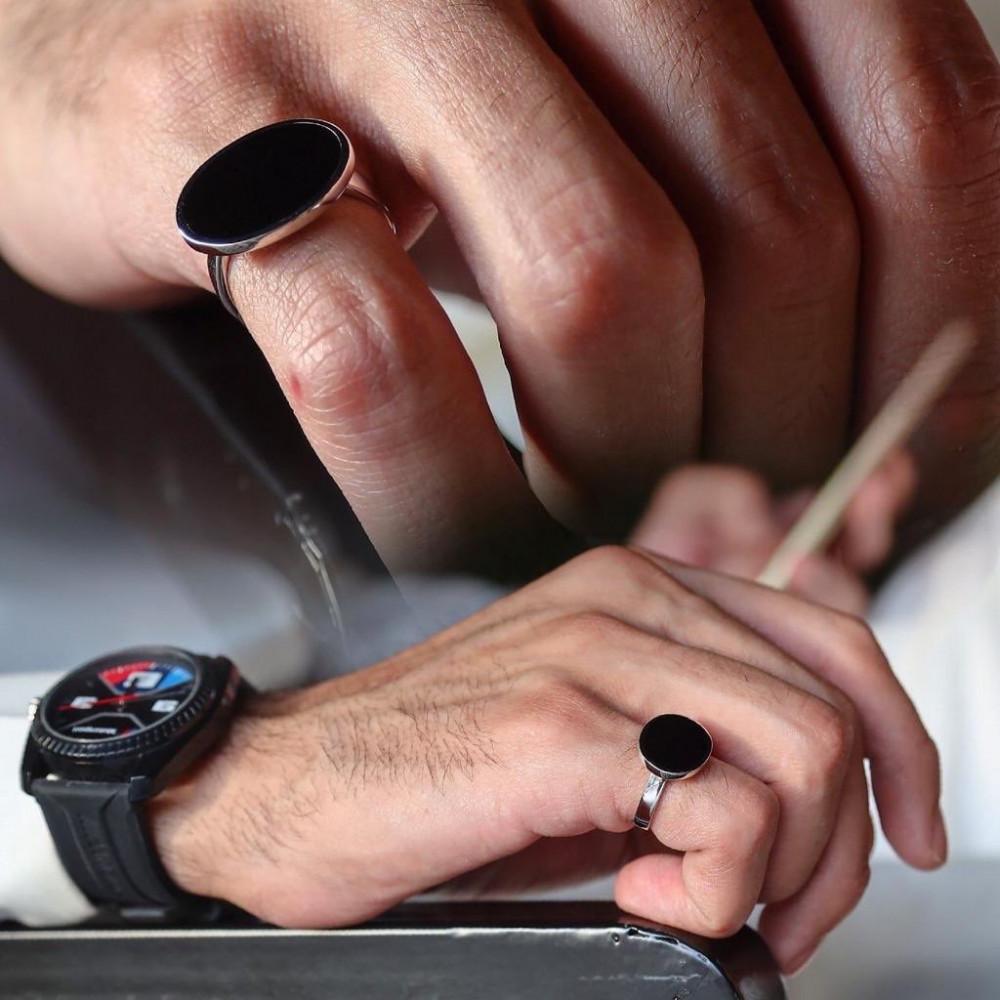 خاتم ملكي فضة ايطالي عيار925 - تصميم حسب الطلب - متجر راقية