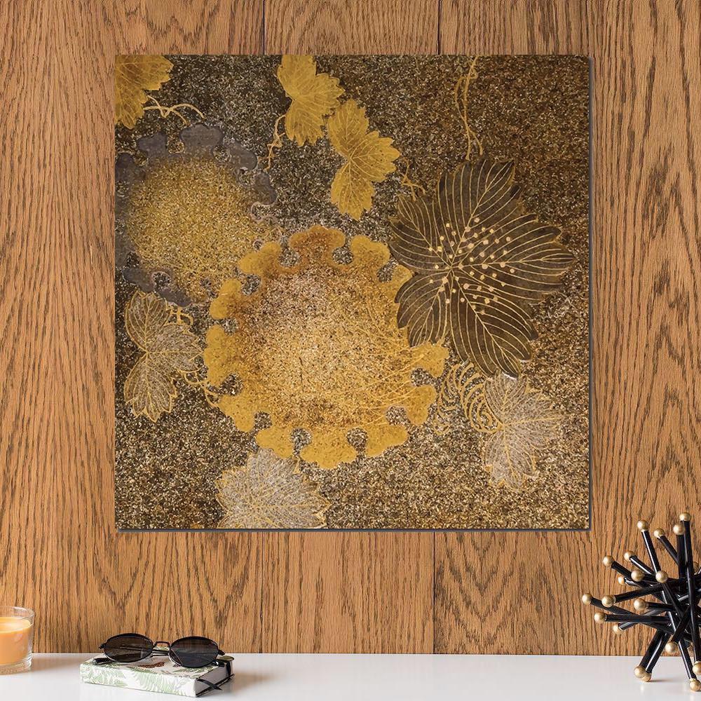 لوحة أوراق شجر لون ذهبي خشب ام دي اف مقاس 30x30 سنتيمتر