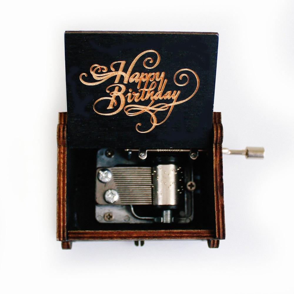 صندوق موسيقى خشبي لموسيقى Happy Birthday أفكار هدية عيد الميلاد متجر