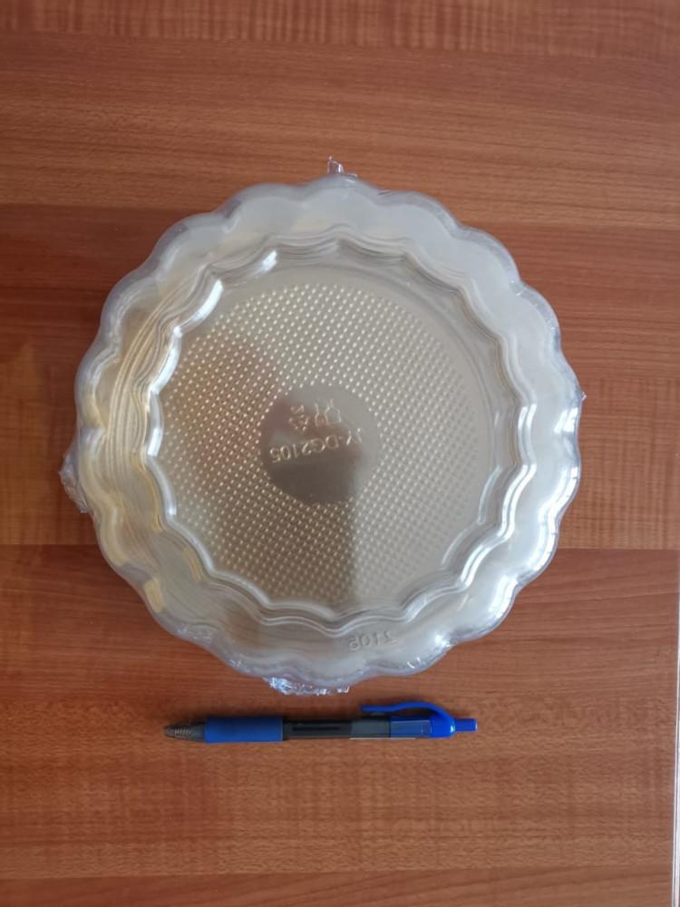 صحن كيك ذهبي دائري مقاس 19 مع غطاء شفاف 4 حبات