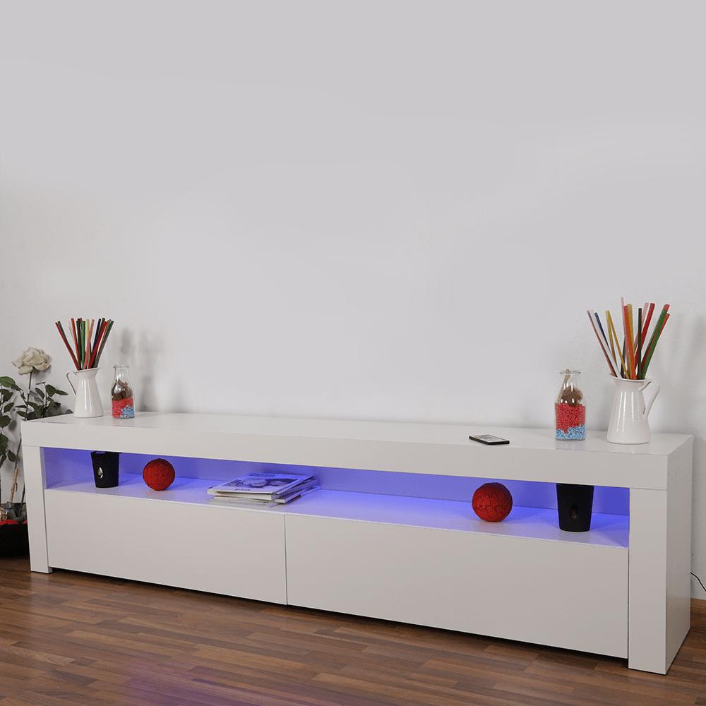 طاولة تلفاز خشبية لون أبيض بسطحين وخزانتين وميزة الإضاءة من يوتريد