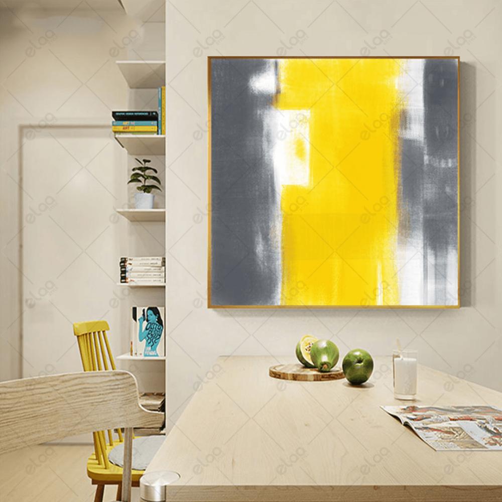 لوحة فن تجريدي لدرجات الرمادي والليموني