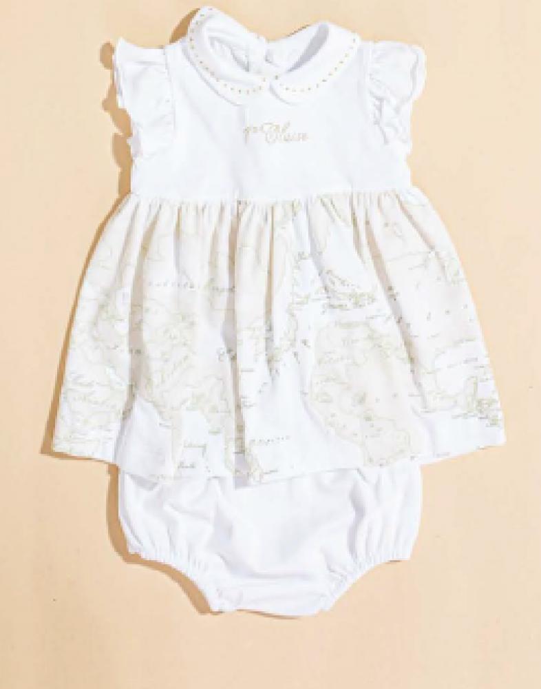 فستان انيق باللون الأبيض مع سروال من ماركة Alviero Martini من دوها