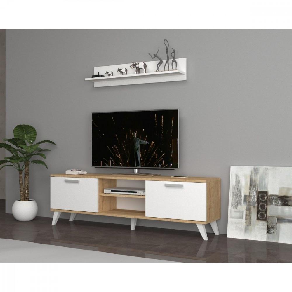 مواسم طاولة تلفاز خشبية بأرجل بلاستيكية مزودة برف علوي لون أبيض وخشبي