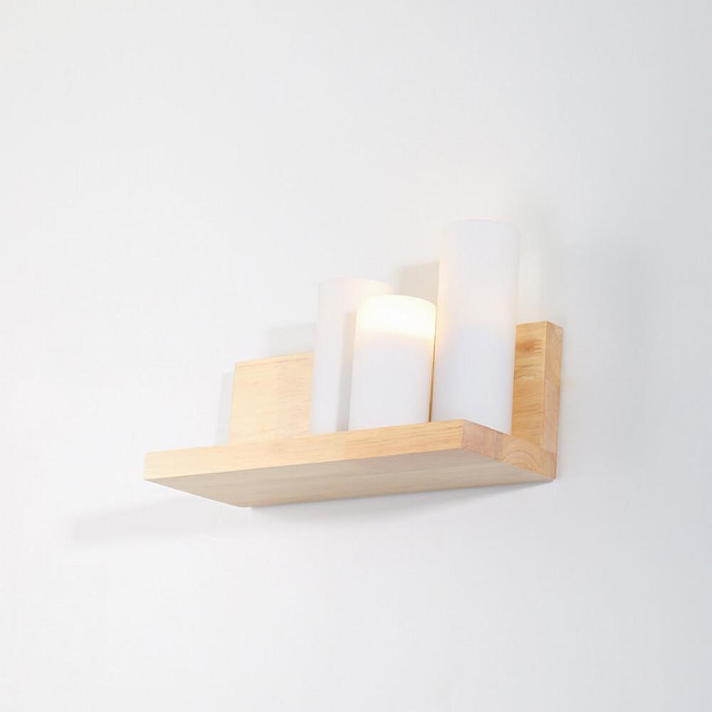 انارة جانبية داخلية رف خشبي مع ثلاث كؤوس منيرة  -فانوس