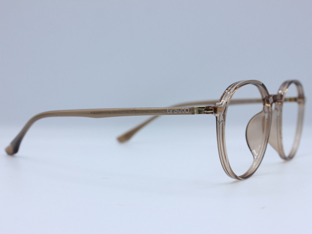 نظارة طبية ماركة BRAVOO نسائية تصميم الإطار دائري بني